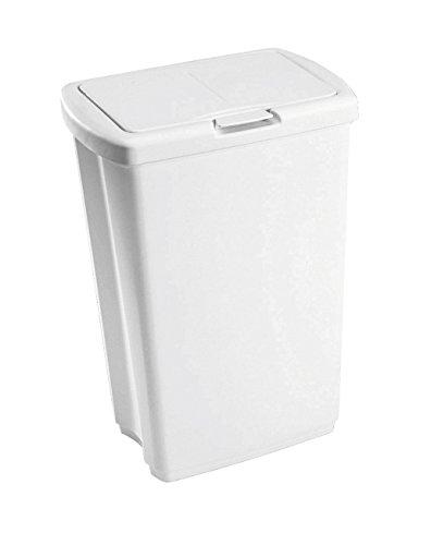 Rubbermaid Spring-Top Wastebasket, 13 1/4-Gallon, White, FG233900WHT