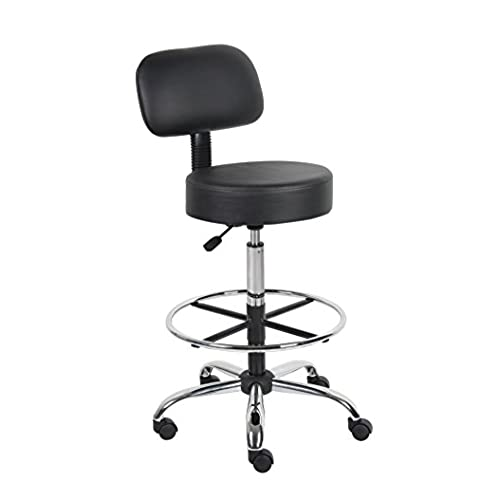 Boss Office Products B16245 BK Be Well Medical Spa Drafting Stool With  Back, Black