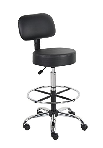 Stool Chrome Drafting Bar - Boss Office Products B16245-BK Be Well Medical Spa Drafting Stool with Back,  Black