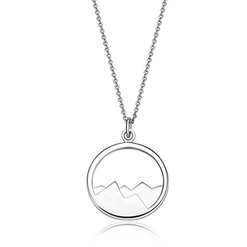 Silver Mountain Pendant Necklace - The mountains are calling and I must (Mountain Necklace)