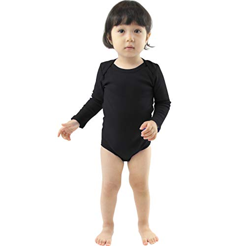 COUVER Unisex Baby Infant Toddler Long Sleeve Lap Shoulder Solid Color Bodysuit Onesie