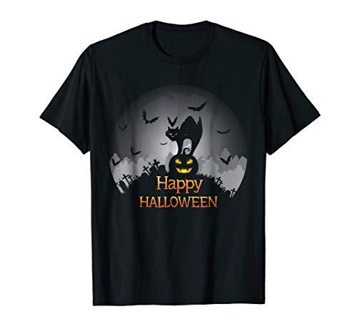 Happy Halloween scary cat and pumpkin costume tee gift idea -