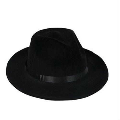 [Costume Gangster Fedora Hat Black Felt - CCEnterprises] (Gangster Hats For Sale)