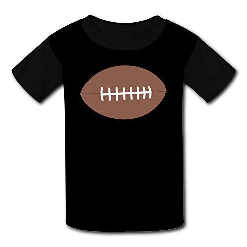 Brown Elliptical Football Child Short Sleeve Fashion T-Shirt of Boys and Girls