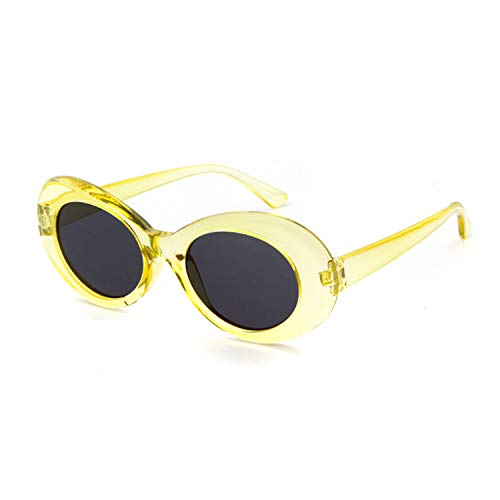 d3c1881035e QIFANDI UV400 Bold Retro Oval Mod Thick Frame Sunglasses Clout Goggles with Round  Lens Cobain Glasses(Yellow)