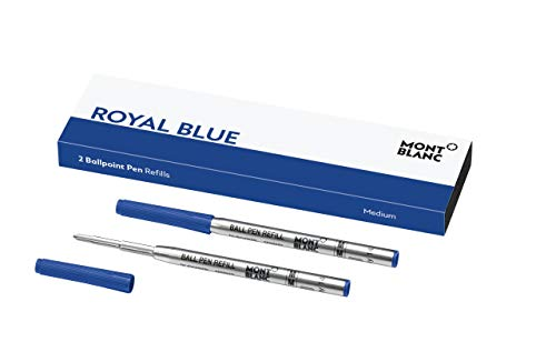Montblanc Ballpoint Pen Refills (M) Royal Blue 124493 - Refill Cartridges with a Medium Tip for Montblanc Ball Pens - 2 x Blue Ballpoint Refills