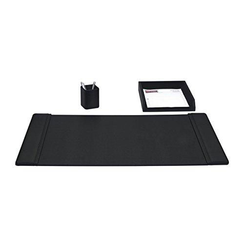 Genuine Top-Grain Black Leather 3-piece Desk - Piece Desk 3 Accessory Leather