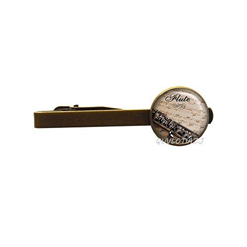 QUVLOTIAZJ Flute Tie Clip, flute Tie Pin, music Tie Pin flute player Tie Pin, music teacher's gift, flautist's gift music student gift music jewelry,ot81 (A2) -