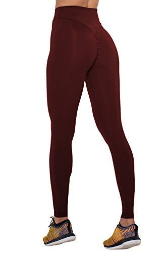 COCOLEGGINGS Female Butt Enhancing Leggings Activewear Yoga Pants Wine Red S