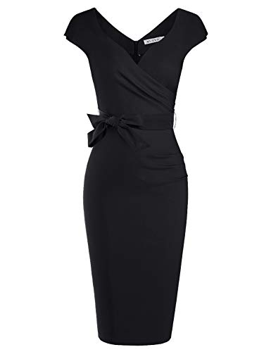 MUXXN Lady Rockabilly Asymmetric Neckline Formal Wear to Work Pencil Dress (Black L)