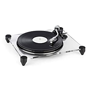 auna TT-Pure Turntable with Preamp – Record Player, MM Pickup System , Auto-Stop , Pitch Control , Retro Design , Recording Function to Convert Vinyl to MP3 , Acrylic Glass , 33 1/3 + 45 RPM , Black