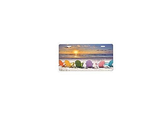 BIN SHANG Beautiful Scene Beach Chairs Metal License Plate Custom Car Metal License Plate