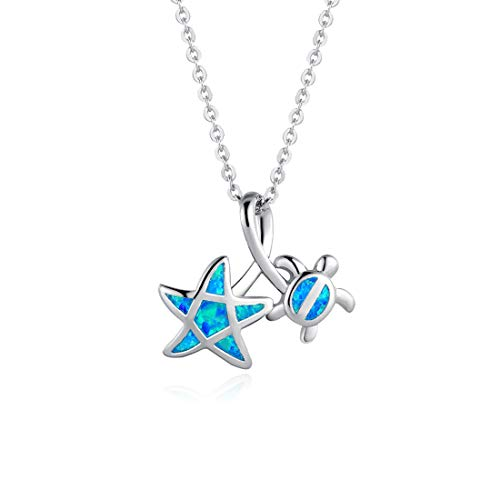 FANCIME Sterling Silver Opal Sea Turtle Pentagram Star Necklace Long Chain Charm Cute Pendant Jewelry for Women Girls 16