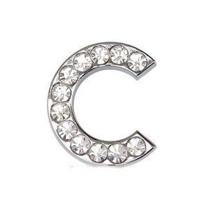 10mm Pet Collar Slider Letter C Classic Clear ()