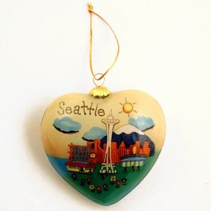 SEATTLE CHRISTMAS ORNAMENT Hand Painted Heart Shape Blown Glass ! Collectors Piece LIMITED EDITION 200 (Limited Edition Glass Ornament)