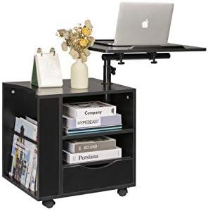 SIDUCAL Functional Bedside Table Adjustable Swiel Wooden Nightstand