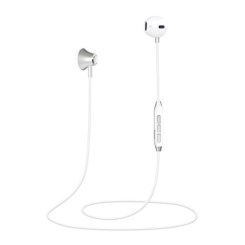 Magnetic Bluetooth Earphones, In-Ear HD Stereo Bluetooth Headphones IPX4 Waterproof Wireless Earbuds DSP Noise Cancellation Wireless Headset with Mic for Sport Running(White) ()