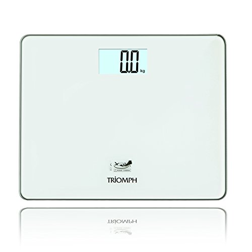 Triomph 330 Pound Super Sized Digital Bathroom Weight Scale with Step-on LCD Backlight Display, 6mm Tempered Glass, White