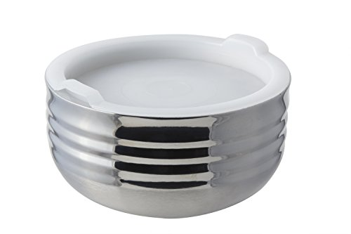 Bon Chef 9317 Stainless Steel 3 Wall Cold Wave Bowl with Stacking Cover, 0.75 Quart Capacity, 6-3/8