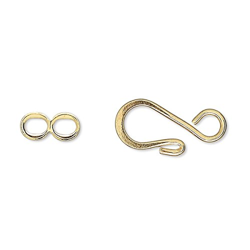 - 10 Big Fancy Swirl Hook & Eye Clasps Findings for Jewelry Plated Over Brass Metal (Gold)