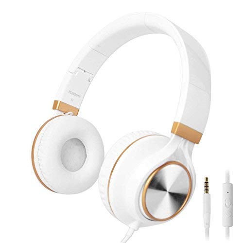 Kanen Wired Stereo Foldable Bass On-ear Headphones Over-ear Headsets Earphones with Microphone 3.5mm for Cellphones Smartphones iphone Laptop Tablet Mp4 Mp3 (Gold)