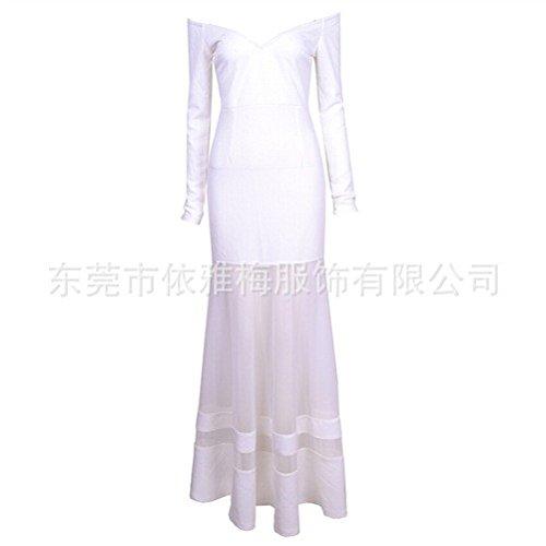 Hilados S Noche de Ropa de L Blanco Vestido de empalmada Perspectiva Neto La Vestido ta7Bqwa