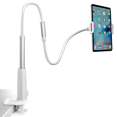 Licheers Tablet Holder, Tablet Stand: Flexible Gooseneck Tablet Stand Mount Compatible with iPad, iPhone, Samsung Galaxy, Nintendo Switch and More 4.7-10.5Inch Devices, Overall Length 33.46In(White)