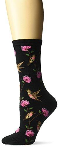 Hot Sox Women's Originals Fashion Crew Novelty Socks, Hummingbirds (Black), Shoe Size: 4-10