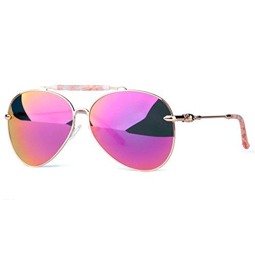 COLOSSEIN Fashion Sunglasses Oversized Metal Frame Mirror Polarized Lenses for Women Party style