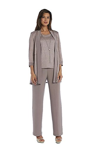 R&M Richards Mother Of The Bride Metallic Three Piece Pantsuit
