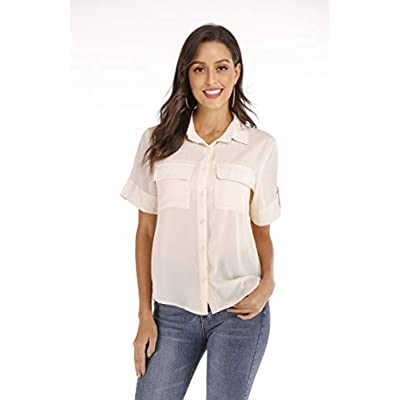 SUNNOW Womens Tailored Short Sleeve Basic Simple Button-Down Shirt with Stretch at Women's Clothing store