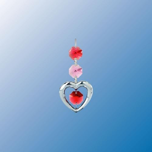 Chrome Plated Heart Hanging Sun Catcher or Ornament..... With Red Color Swarovski Austrian (Plated Pewter Heart)