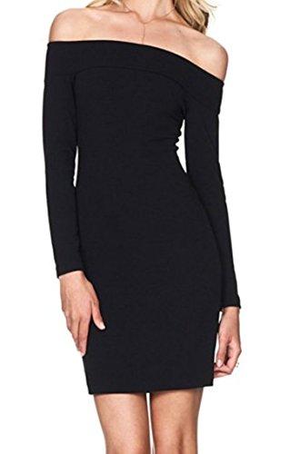 Zestway Women's Sexy Long Sleeve Off Shoulder Bodycon Bandage Party Club Dress Black S
