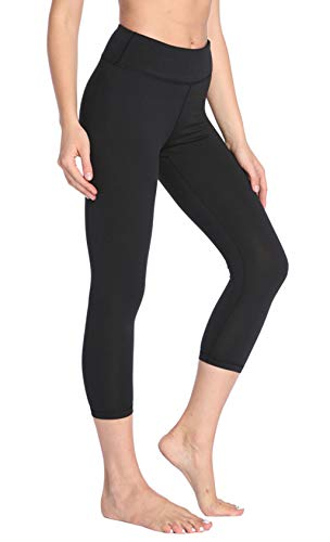 Womens Yoga Pants Workout Leggings - Tummy Control Cropped High Waisted Workout Running 4 Way Stretch Yoga Exercise Capris Leggings Inner Pocket Large Black ()
