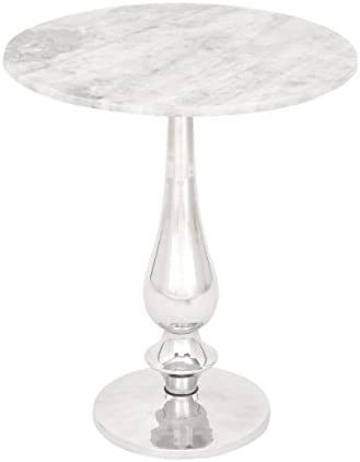 Benzara Antique Colonial Graceful Aluminum Marble Accent Table