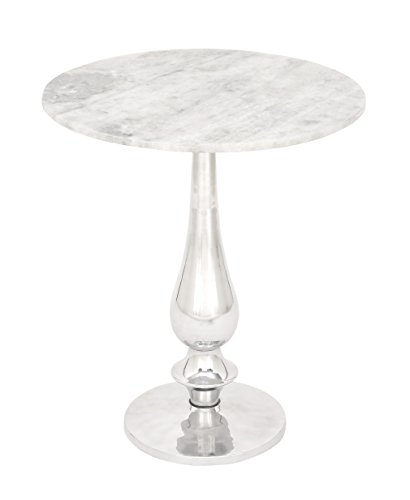 - Benzara Antique Colonial Graceful Aluminum Marble Accent Table White/Gray/Silver