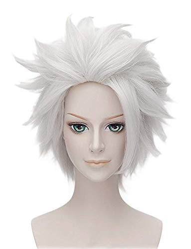 Anogol Hair Cap+Short Layered White Hair Wig for Anime Cosplay Wig Synthetic]()