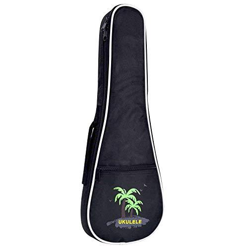 CAHAYA Ukulele Bag 23 inch Ukulele Case Oxford Fabric 0.28inch Thick Sponge Padded Adjustable Shoulder Strap with Coconut tree Pattern Style(Black )