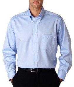 Van Heusen Men's Long-Sleeve Non Iron Pinpoint Oxford Shirt, Blue Mist, Large
