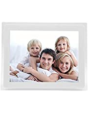 Digital Photo Frame, 12-inch 1280 * 800 with Acrylic Frame MP3 / MP4 Player Multi-Function Advertising Machine Electronic Picture Frame Support Music Video Clock Calendar,White Gift