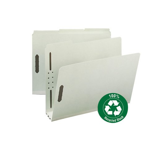 Smead 100% Recycled Pressboard Fastener File Folder, 1/3-Cut Tab, 3 Expansion, Letter Size, Gray/Green, 25 per Box (15005) by Smead