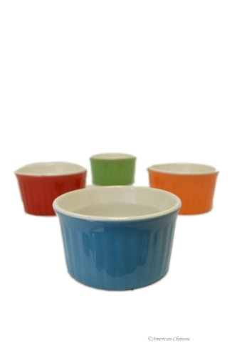 Set 4 Colorful Ribbed Porcelain 5oz Dessert Oven Safe Souffle Bowl Ramekins (Ribbed Ramekin)