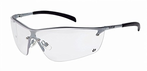 Bollé Safety 253-SM-40073 Silium Safety Eyewear with Silver Metal + TPE Semi-Rimless Frame and Clear - Free With Lenses Frames
