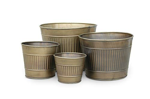 Nesting Planters - Nesting Set of 4 Metal Planters in Antique Brass Finish (4, Antique Brass)