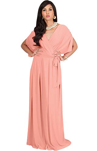 KOH KOH Womens Long Formal Short Sleeve Cocktail Flowy V-Neck Casual Bridesmaid Wedding Party Guest Evening Cute Maternity Work Gown Gowns Maxi Dress Dresses, Light Pink Peach L 12-14
