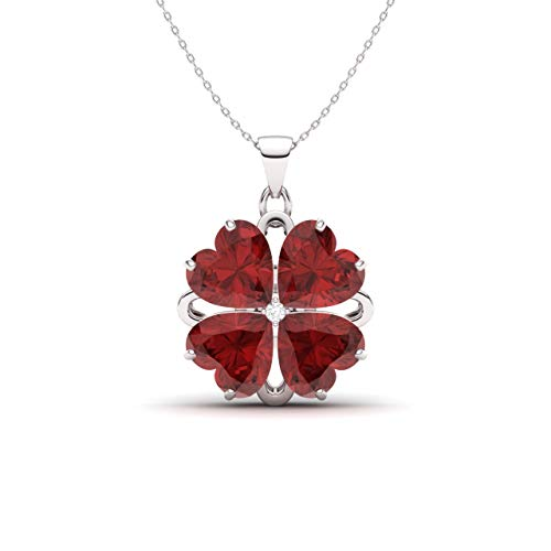 - Diamondere Natural and Certified Heart Cut Garnet and Diamond Flower Necklace in 14k White Gold | 2.34 Carat Pendant with Chain