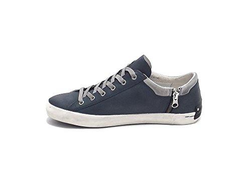 Crime scarpa uomo, modello 11001, sneaker in pelle e camoscio, colore blu e grigio