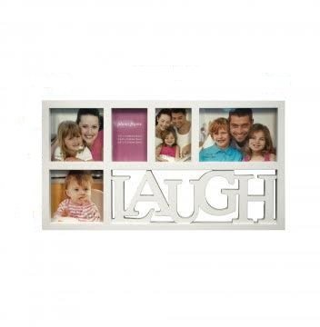 White Laugh Collage Photo Frame/Plastic Picture Frame with 5 Glass Windows (Frame Size: 20.25'' x 11'') Hanging Panel Included