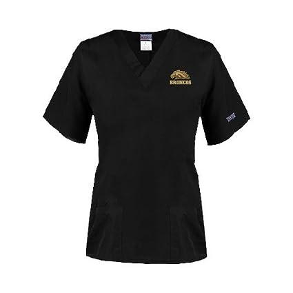 90fcbf5a06d CollegeFanGear Western Michigan Ladies Black Two Pocket V Neck Scrub Top 'Broncos  w/Bronco