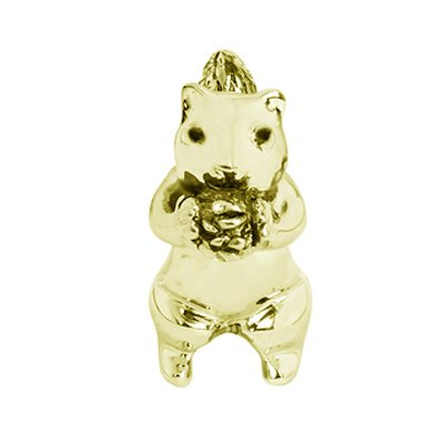 Yellow Gold Vermeil Sterling Silver Cute Squirrel Bead Charm